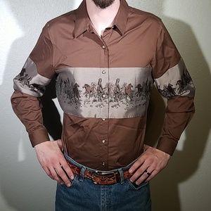 Panhandle Slim Vintage Brown Cowboy Shirt Md
